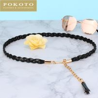 Belt / belt / chain top layer leather female belt Sweet Single loop Youth, middle age and old age a hook Glossy surface soft surface 1.5cm alloy POKOTO Summer 2020