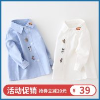shirt male 90cm 100cm 110cm No season Long sleeves Korean version Solid color cotton Lapel and pointed collar Cotton 95% other 5% other Autumn of 2019