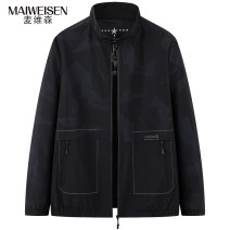 Jacket Maiweisen Fashion City Blue black 3XL 4XL 5XL 6XL 7XL 8XL routine easy motion spring Polyester 100% Long sleeves Wear out stand collar Basic public Large size routine Zipper placket Rubber band hem No iron treatment Closing sleeve other polyester fiber Spring 2021 Arrest line Save pocket