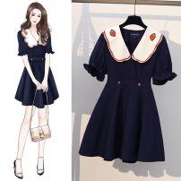 Dress Spring 2021 One piece dark blue dress M [recommended 80-100 kg], l [recommended 100-120 kg], XL [recommended 120-140 kg], 2XL [recommended 140-160 kg], 3XL [recommended 160-180 kg], 4XL [recommended 180-200 kg] Short skirt singleton  Short sleeve routine Splicing