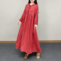 Dress Spring 2021 Red, black, hemp Average size Mid length dress singleton  Long sleeves commute Polo collar middle-waisted Solid color other Big swing routine Others 30-34 years old Type A literature CQ - A3 More than 95% other hemp