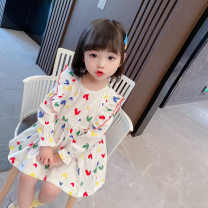 Dress white female Other / other 80cm,90cm,100cm,110cm,120cm,130cm Cotton 70% other 30% spring and autumn Korean version Long sleeves flower cotton A-line skirt xxm-0320-002 Class A