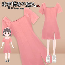 Women's large Summer 2021 Pink Dress singleton  commute Self cultivation Socket Short sleeve Solid color Korean version square neck Medium length Three dimensional cutting other J-60602 Murexi 25-29 years old Medium length Other 100% Pure e-commerce (online only) other