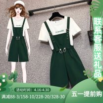 Women's large Summer 2021 suit Other oversize styles Two piece set commute easy thin Socket Short sleeve letter Korean version Crew neck Medium length Three dimensional cutting other J-51200 Murexi 25-29 years old Other 100% Pure e-commerce (online only) shorts