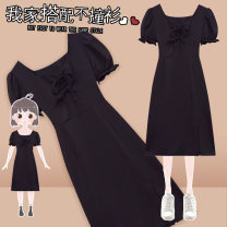 Women's large Summer 2021 black Dress singleton  commute Self cultivation thin Socket Short sleeve Solid color Korean version square neck Medium length Three dimensional cutting Petal sleeve J-60708# Murexi 25-29 years old Medium length Other 100% Pure e-commerce (online only) other
