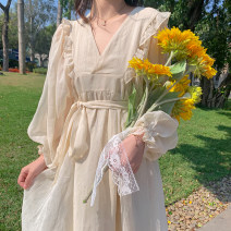 Dress Spring 2020 Apricot, purple Average size Mid length dress singleton  Long sleeves Sweet V-neck High waist Solid color puff sleeve 18-24 years old Type A