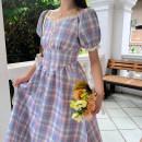 Dress Summer 2020 Girl Purple S,M,L Mid length dress singleton  Short sleeve Sweet V-neck High waist Princess Dress 18-24 years old Type A