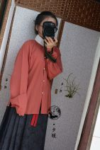 Custom made Hanfu Brick red stand collar shirt M. S, l, XL, XXL, others female A long dream