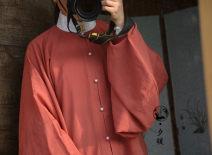 Custom made Hanfu Brick red Pipa sleeve shirt M,S,L,XL,XXL female A long dream