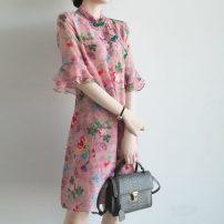 Women's large Summer 2020 pink Large XL, large L, m, 2XL singleton  commute elbow sleeve Decor Korean version stand collar silk Lotus leaf sleeve LO.GULEYA 91% (inclusive) - 95% (inclusive) Medium length