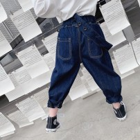 trousers Other / other female 90cm navy blue spring and autumn trousers leisure time There are models in the real shooting Harlem Pants / knickerbockers Leather belt middle-waisted Cotton denim Don't open the crotch TX one strap jeans Chinese Mainland Zhejiang Province