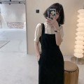 Dress Summer 2021 Apricot Top + black strap skirt S,M,L,XL Mid length dress Two piece set Short sleeve commute Crew neck High waist Solid color Socket One pace skirt routine lady RON-0006