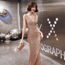 Dress / evening wear Weddings, adulthood parties, company annual meeting, performance date XS S M L XL XXL Champagne gold Korean version longuette middle-waisted Autumn 2020 fish tail Deep collar V zipper 18-25 years old YM20081 Sleeveless Nail bead Solid color Beautiful outline routine Other 100%