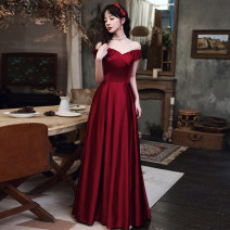 Dress / evening wear Weddings, adulthood parties, company annual meetings, daily appointments XS S M L XL XXL tailor made without return claret Korean version longuette middle-waisted Winter 2020 Fall to the ground One shoulder Bandage 18-25 years old YM20137 Short sleeve Embroidery Solid color other