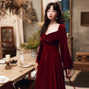 Dress / evening wear Weddings, adulthood parties, company annual meetings, daily appointments XS S M L XL XXL claret Korean version longuette middle-waisted Winter 2020 Fall to the ground Deep collar V zipper 18-25 years old YM20126 Long sleeves Embroidery Solid color Beautiful outline routine other