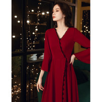 Dress / evening wear Weddings, adulthood parties, company annual meetings, daily appointments XS S M L XL XXL claret Korean version longuette middle-waisted Winter 2020 Fall to the ground Deep collar V zipper 18-25 years old YM20106 Long sleeves Embroidery Solid color Beautiful outline routine other