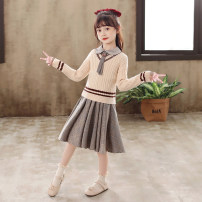 Dress female Anglo American flower 110cm 120cm 130cm 140cm 150cm 160cm Polyester 100% spring and autumn college Long sleeves stripe other other 2026LYQ Class B Autumn 2020 Chinese Mainland Guangdong Province Shantou City