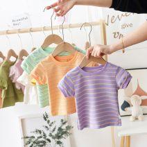 T-shirt Green, purple, orange Other / other 80 recommended height (70-80cm), 90 recommended height (80-90cm), 100 recommended height (90-100cm), 110 recommended height (100-110cm), 120 recommended height (110-120cm) female Short sleeve stripe 3 months