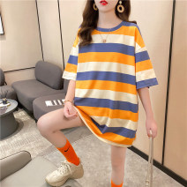 T-shirt Orange green M L XL Autumn 2020 Short sleeve Crew neck easy Medium length routine commute polyester fiber 86% (inclusive) -95% (inclusive) 18-24 years old Korean version youth Sea of life 5163-2 Polyester 95% polyurethane elastic fiber (spandex) 5% Exclusive payment of tmall