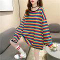 T-shirt Rainbow Stripe Red Black Stripe Black White Stripe M L XL Autumn 2020 Long sleeves Crew neck easy Medium length routine commute polyester fiber 86% (inclusive) -95% (inclusive) 18-24 years old Korean version youth Sea of life 3530-3 Polyester 95% polyurethane elastic fiber (spandex) 5%