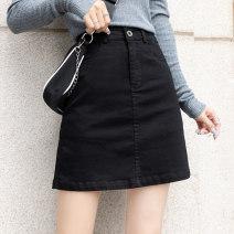 skirt Summer 2021 S M L XL 2XL Short skirt Versatile High waist A-line skirt Solid color Type A 25-29 years old More than 95% Denim cotton Pocket button zipper patch Cotton 97.8% polyester 2.2% Pure e-commerce (online only)
