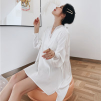 Nightdress Other / other white 160(M),165(L) Simplicity Long sleeves Leisure home Middle-skirt autumn Solid color youth V-neck Polyester (polyester) More than 95% silk