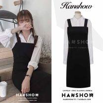 Fashion suit Autumn 2020 S,M,L,XL White shirt, black strap skirt 18-25 years old 322+323#
