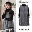 Dress Spring 2021 Black dress, black shirt, white shirt S,M,L,XL Two piece set Sweet Crew neck A-line skirt straps Type A bow 388#