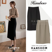 skirt Winter 2020 S,M,L,XL Black, khaki Mid length dress commute High waist A-line skirt Solid color Type A 18-24 years old zipper Korean version