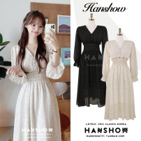Dress Autumn 2020 Black, apricot S,M,L,XL Mid length dress singleton  Long sleeves commute V-neck High waist Broken flowers A-line skirt Lotus leaf sleeve Others 18-24 years old Type A Korean version Button 338# Chiffon
