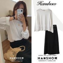 Fashion suit Autumn 2020 S,M,L,XL White T-shirt, black skirt 18-25 years old 307+202 cotton
