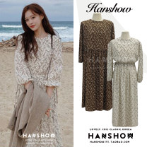 Dress Winter 2020 Brown, beige Average size Mid length dress singleton  Long sleeves commute Crew neck Loose waist Broken flowers Big swing puff sleeve Others 18-24 years old Type A Korean version Lace up, printed 211#