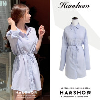 shirt blue S,M,L,XL Autumn 2020 other 31% (inclusive) - 50% (inclusive) Long sleeves commute Short style (40cm < length ≤ 50cm) Polo collar Single row multi button shirt sleeve Solid color 18-24 years old Self cultivation Korean version Lace up, button