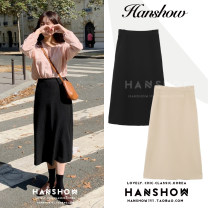 skirt Winter 2020 S,M,L,XL Khaki, black Mid length dress Versatile High waist A-line skirt Solid color Type A 18-24 years old 51% (inclusive) - 70% (inclusive) zipper