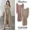 Dress Autumn 2020 Apricot, lotus root Pink S,M,L,XL longuette singleton  Long sleeves commute square neck High waist Solid color Socket routine Others 18-24 years old Type A Korean version zipper 31% (inclusive) - 50% (inclusive)