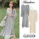 Dress Winter 2020 Apricot, grey S,M,L,XL longuette singleton  Long sleeves commute V-neck Elastic waist Solid color Socket A-line skirt puff sleeve 18-24 years old Type A Korean version 81% (inclusive) - 90% (inclusive)