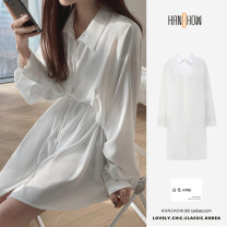 Dress Spring 2021 white S,M,L,XL Mid length dress singleton  Long sleeves commute Polo collar Loose waist Solid color Single breasted Others 25-29 years old Type H Korean version Lace up, button Chiffon