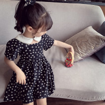 Dress black female Mimihello 90cm,100cm,110cm,120cm,130cm,140cm,150cm Other 100% summer Korean version Short sleeve Broken flowers other Splicing style Class B Chinese Mainland