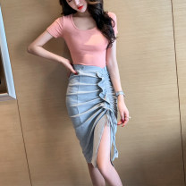 skirt Summer of 2019 S M L Light grey Mid length dress commute High waist Irregular Solid color Type A 18-24 years old 91% (inclusive) - 95% (inclusive) other Looking for Jie cotton Korean version Cotton 95% polyurethane elastic fiber (spandex) 5% Pure e-commerce (online only)