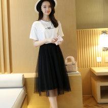 skirt Summer of 2019 65cm 80cm Grey white black Mid length dress Natural waist Pleated skirt Zoyashi