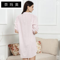 Nightdress Namao 0156 Pink Stripe S L M XL Simplicity Leisure home Middle-skirt summer stripe youth stand collar cotton bow More than 95% Woven cotton fabric X17WN0156 Autumn of 2018 Cotton 100.00% Other 100.00%