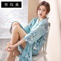 Nightdress Namao 88056 lake water green XXL L M XL Sweet Middle sleeve pajamas Middle-skirt summer Cartoon animation youth Small lapel Polyester (polyester) printing More than 95% Autumn of 2018 Pure e-commerce (online only)