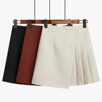 skirt Spring 2020 S,M,L,XL,2XL Black, red, apricot Short skirt commute High waist A-line skirt Solid color Type A 18-24 years old 51% (inclusive) - 70% (inclusive) other Other / other polyester fiber Button Korean version