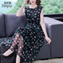 Dress Summer 2021 green S M L XL 2XL Mid length dress singleton  Sleeveless commute Crew neck High waist Dot Socket A-line skirt routine Others 35-39 years old Type A European clothes Korean version Lace up zipper print BH-3F-366A-8253 More than 95% Chiffon other Other 100%