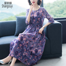 Dress Summer 2021 Picture color M L XL 2XL 3XL Mid length dress singleton  elbow sleeve commute Crew neck High waist Decor Socket A-line skirt routine Others 35-39 years old Type A European clothes Korean version printing BH-3F-360A-6769 31% (inclusive) - 50% (inclusive) brocade hemp