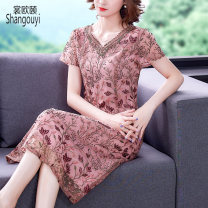 Dress Summer 2021 Picture color L XL 2XL 3XL 4XL 5XL Mid length dress singleton  Short sleeve commute V-neck High waist Decor zipper A-line skirt routine Others 35-39 years old Type A European clothes Korean version Embroidery and gouging JFL-2F-2F127-9857 31% (inclusive) - 50% (inclusive) other silk