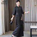 Women's large Summer 2021 black Large L Large XL Large 2XL large 3XL large 4XL trousers Two piece set commute easy thin Socket elbow sleeve Decor Retro stand collar Medium length other routine European clothes 40-49 years old Three dimensional decoration Medium length Silk 50% other 50% other