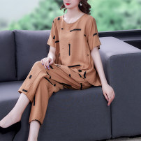 Women's large Summer 2021 White Green Black Camel L XL 2XL 3XL 4XL T-shirt Two piece set commute easy thin Socket elbow sleeve Korean version Crew neck Three dimensional cutting Bat sleeve BH-4F-432A-6823 European clothes 40-49 years old pocket Flax 50% other 50% Pure e-commerce (online only)