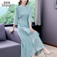 Dress Summer 2021 Silver silk embroidery M L XL 2XL 3XL Mid length dress singleton  elbow sleeve commute V-neck High waist Decor Socket A-line skirt routine Others 40-49 years old Type A European clothes Korean version Embroidery NRJ-2F-B18B-8510 31% (inclusive) - 50% (inclusive) other silk