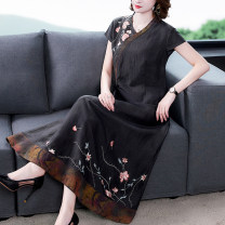 Women's large Spring 2021 black Big XL big XXL big XXXL big L Dress Two piece set Socket silk Three dimensional cutting routine NRJ-2F-E240H-9812-1 European clothes 40-49 years old 96% and above Medium length Silk 50% other 50% Pure e-commerce (online only)